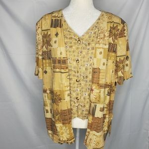 VINTAGE 2 fer button up vest with attached shirt